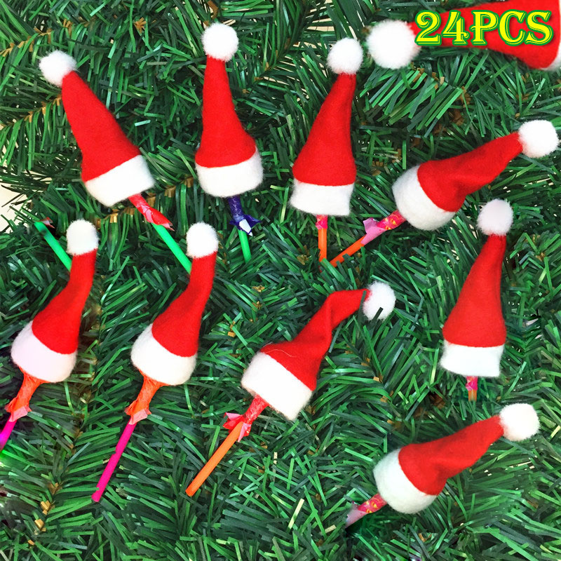 Christmas 24pcs Felt Miniature Hats Sweet Red&White Santa Caps Crafting Lollipops Candy Decoration LS
