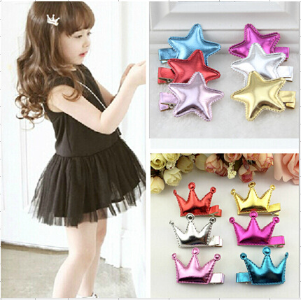 6937 2 pcs/lot Girls Crown Shinning Clip Hair Accessories Children Accessories Baby Hair Clip 4 colors free shipping(China (Mainland))