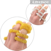 1 Lot / 10 Pcs Hot Sale Metal Gold & Sliver Finger Massage Sujok Ring Acupuncture Health Care Body Massage Chinese Medicine
