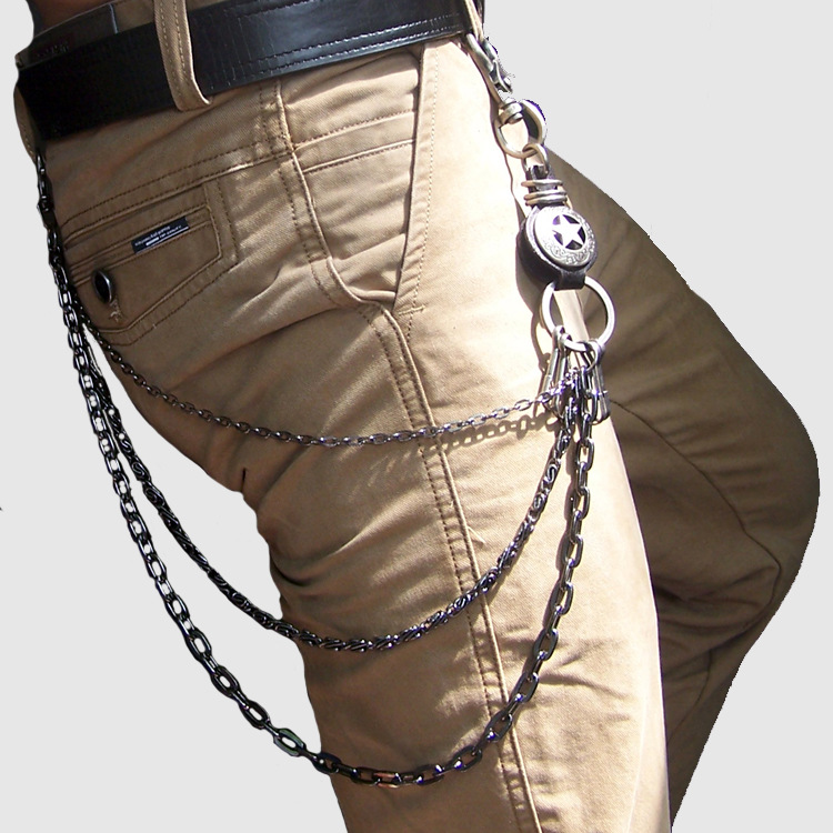 2016 Cabochon Trendy New Multifunctional Metal Waist Chain Fashion Hip-hop Pants Three Layers Men Casual Exaggerated Retro Jean(China (Mainland))