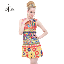 High Quality 2016 Runway Fashion Designer Dress Women's Sleeveless O-Neck Mini Fuzzy Baroque Printed Embossed Dress(China (Mainland))