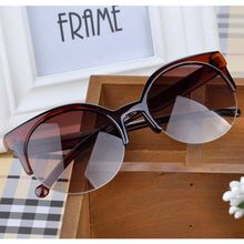 Summer Style Cat Eye Sunglasses Women Eyewear Semi Rimless Sunglasses Super Round Circle Cat Eye Sunglasses