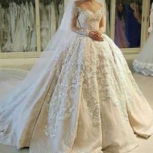 Buy Custom Made vestidos de noiva Ball Gown Long Sleeve Satin Lace Beading Luxury Wedding Dresses robe de mariage 2017 New OK06 for $594.15 in AliExpress store