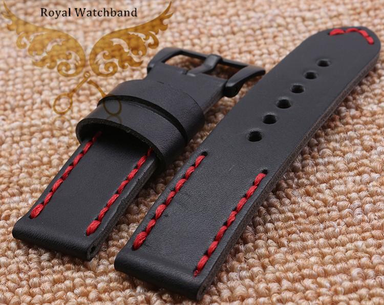 22 мм 24 мм новых людей черный гладкие натуральная кожа группы ремни красной строчкой