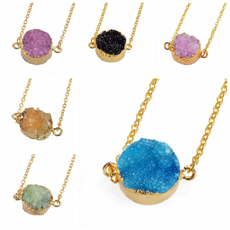 New Summer Rose Quartz Crystal Necklace Women Natural Stone Agate Amethyst Pendant Necklaces Druzy Drusy Topaz Colares Femininas(China (Mainland))