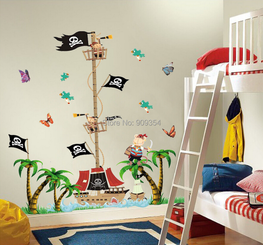 Free Shipping Pirate Wall Stickers Height Chart Animal Tree Decor Art Decal Baby Nursery Vinyl Quality Removable PVC Wall Decors(China (Mainland))