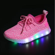 Kids Led Light Up Sport Shoes For Girls Boys Shoes With Light Child Yeezy Sneakers Children Lighted Sneakers 26-36(China (Mainland))