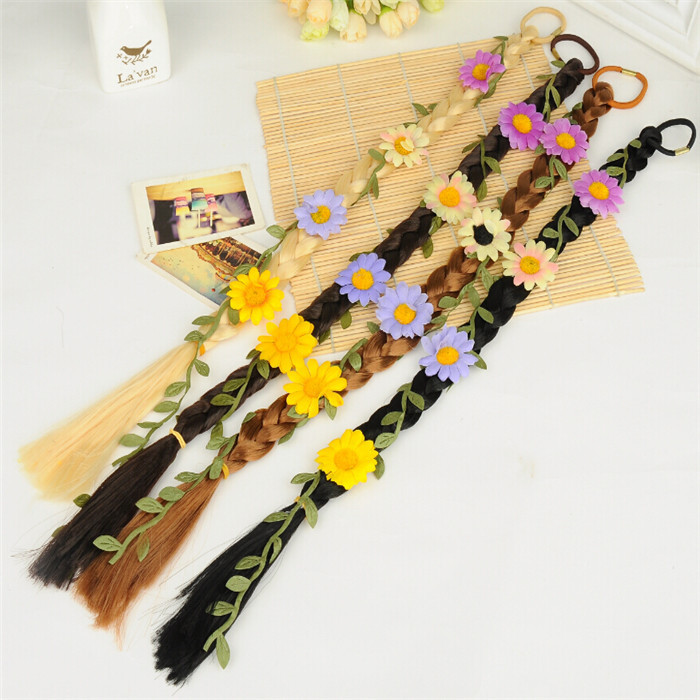 4 Colors Fashion Women Hair Band Colorful Flowers Braided Elastic Bands Long Polytail Girls Accessories HG099 - Zhejiang Can Fly Co.,Ltd store
