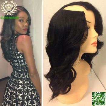 Glueless U Part Human Hair Wigs Virgin Brazilian Wavy Upart Wig Human Hair Body Wave U Shape None Lace Wigs Cheap on Mobile App