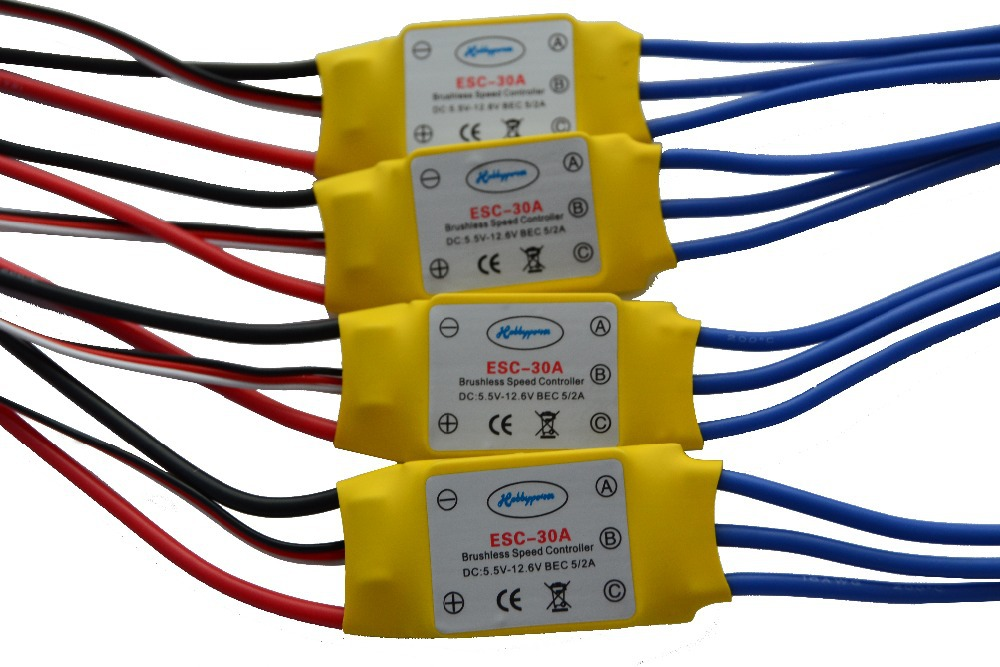 4PCS 30A Brushless 450 helicopter multicopter Motor Speed Controller RC ESC +Free shipping(China (Mainland))