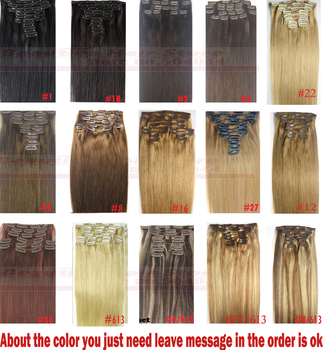 "Free Shipping 16""-32'' 10pcs Set 100% Brazilian Remy Hair Clip In/on Human Hair Extensions 22 Colors 120g 140g 160g 180g200g220g"