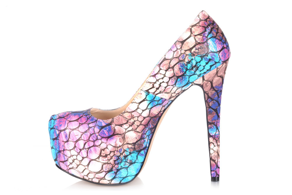 2015 New Stone Pattern Colorful Luxury Spikes Platform Large Size High Heels Sapato Women Pumps Big Size Ladies Shoes(China (Mainland))