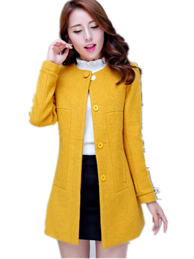 Здесь можно купить  S-3XL Women Korean Medium Long Fashion Woolen outerwear.Slim o-neck woolen ladies winter coats : S M L XL XXL XXXL  Одежда и аксессуары