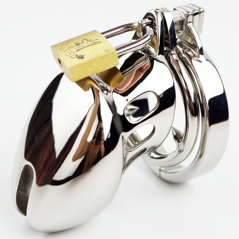 Male Chastity belt Stainless Steel Cock Cage Metal Penis Device with Spike Ring(China (Mainland))