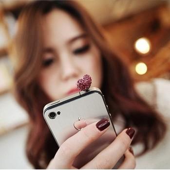 P3 created diamond earphone dust mobile phone crystal rhinestone heart dust plugs free shipping(MIN order $10 mixed order)