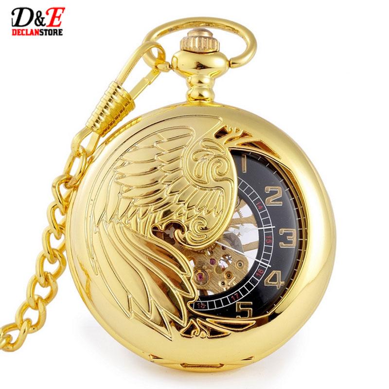 New  Mechanical Pocket Watch Steampunk Pendant Golden Bird-Style Hollow men women Gift P411<br><br>Aliexpress