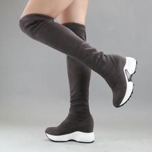 QUTAA 2020 Stretch Stoffen Over De Knie Laarzen Hoogte Toenemende Ronde Teen Vrouwen Schoenen Herfst Winter Casual Lange Laarzen Size34-43(China)