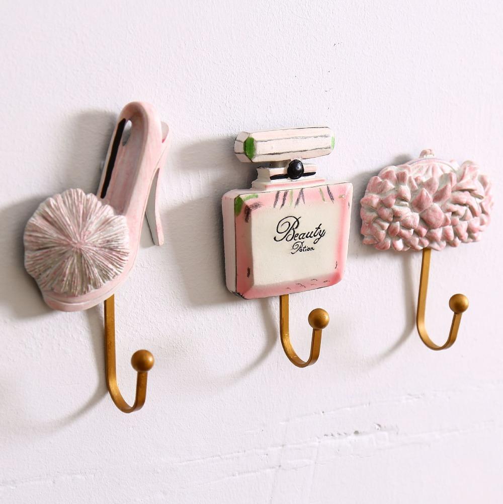 Set of 3 Creative Home Shop Decor Resin Shoes Perfume Bag Model & Metal Wall Hook Hat Cap/Coat/Hat/Bag Hanger(China (Mainland))