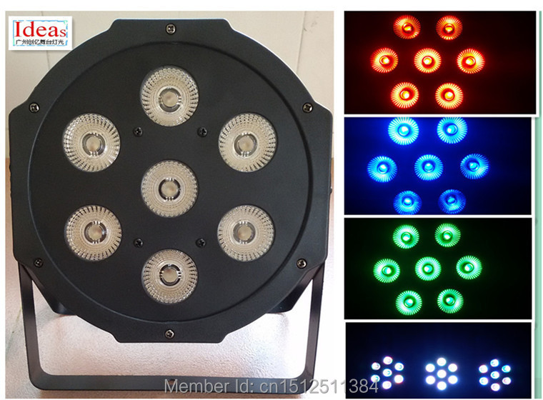 2015 7x 12W RGBW DMX Stage Lights Business Lights Led Flat Par High Power Light with Professional for Party KTV Disco DJ(China (Mainland))