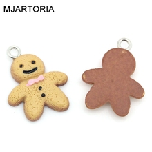 20PCs Resin Charm Pendants For Jewelry Making Christmas The Gingerbread Man Multicolor 21mmx16mm Free Shipping(China (Mainland))