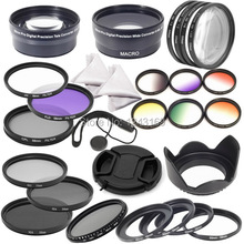 58mm Complete Lens Filter Wide Angle  Marco lens Telephoto Lens Set for  DSLR Camera Canon 700D 650D 600D 550D LF132(China (Mainland))