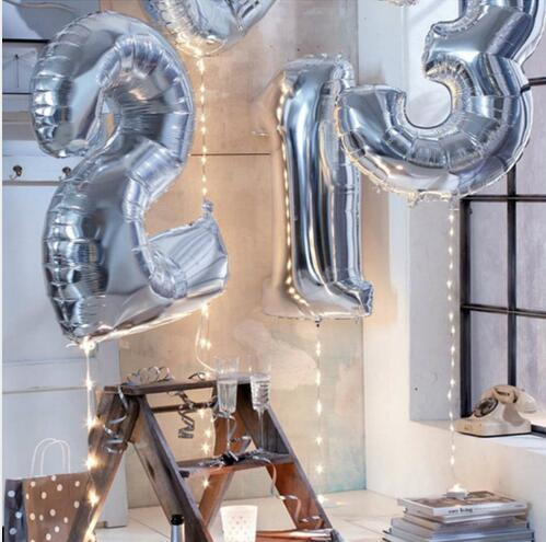 40 Inches Party number ballon Silver Digital Aluminum 0-9 Balloons Party Decoration Wedding Supplies Happy Birthday Decoration(China (Mainland))