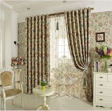 New flower pastoral modern finished blackout curtains for hotel home living room the bedroom window curtain panel drapes(China (Mainland))