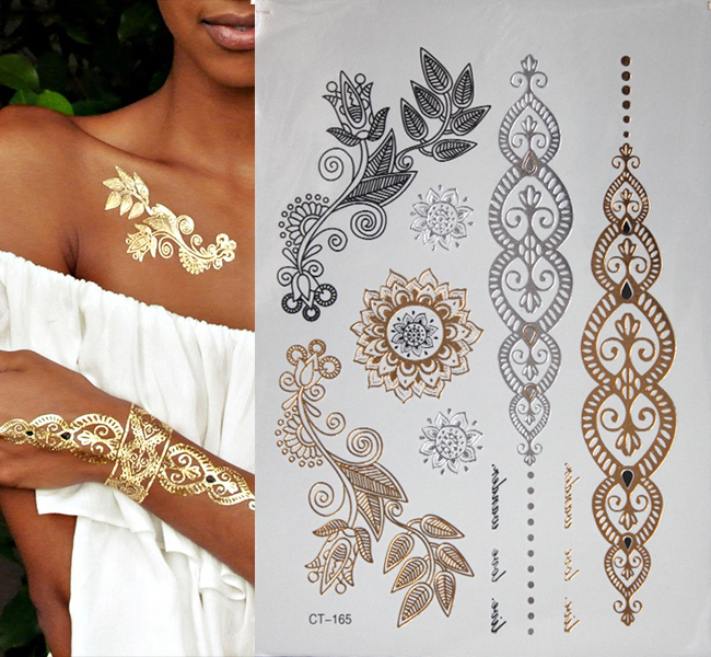 Hot fashion gold flash tattoo temporary jewelry tattoos for Henna body tattoo