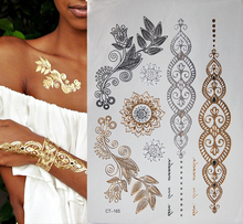 Hot Fashion Gold Flash Tattoo Temporary Jewelry Tattoos Metallic Bracelet Flower Jewelry Tattoos