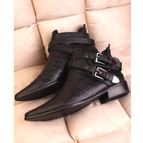 Women Boots fashion crocodile ankle boots heels british style leather motorcycle sapatos femininos - miyake mei's store