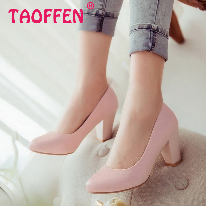 women casual square high heel shoes lady sweet lady spring quality footwear fashion heeled pumps heels shoes size 32-43 P17176<br><br>Aliexpress