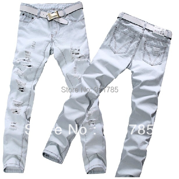 Mens White Destroyed Jeans