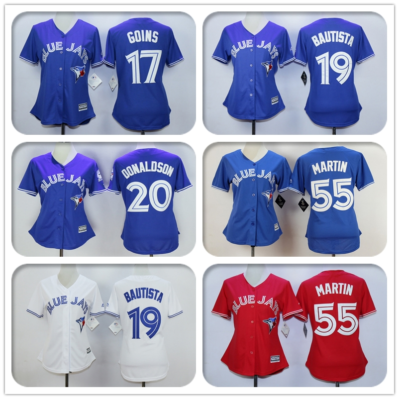 Womens #17 Ryan Goins #19 Jose Bautista #20 Josh Donaldson #55 Russell Martin Jersey Color Red Blue White Throwback Jerseys(China (Mainland))