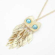 Hot slaes New Fashionable Stylish Gold Leaves Owl Charm Chain Long Women Pendant Necklace (China (Mainland))