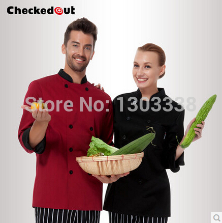 Unisex chef uniform kitchen cook suit long sleeve black and wine red Checkedout chef jacket Free Shipping(China (Mainland))