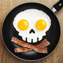 kitchen cooking tool unique design Silicone Rubber egg mold Non-stick Skull Eggs Fried Frying Mould Pancake Egg Ring Shaper Mold(China (Mainland))
