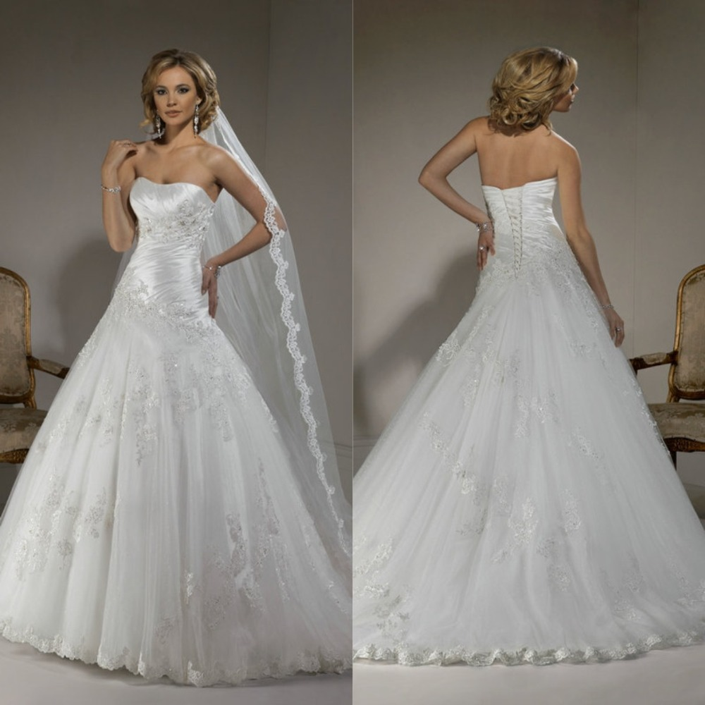 Vestido de noiva ball gown white tulle lace corset back for Big tulle ball gown wedding dress