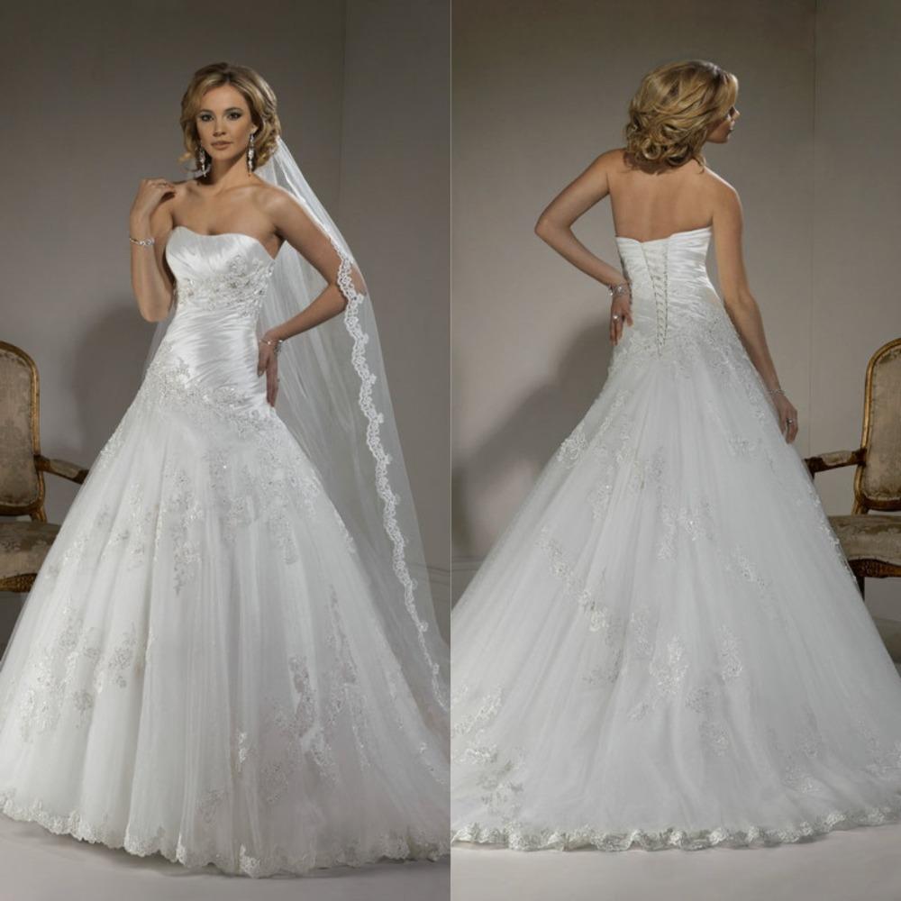 Vestido de noiva ball gown white tulle lace corset back for Best selling wedding dresses