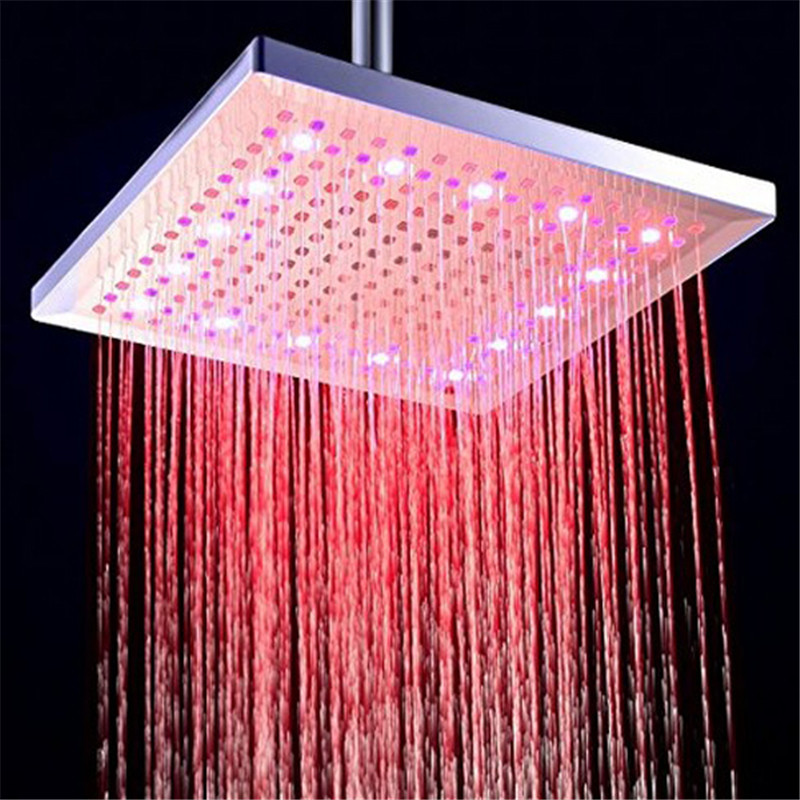 12 inch 300mm LED Color Changing Rainfall Shower Head Rectangular Waterfall Shower Head(China (Mainland))
