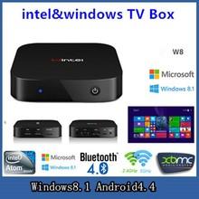 Wintel W8 Windows 8.1 MINI PC  and  Android 4.4 TV Box Dual OS Intel Atom Z3735F 64bit Quad Core CPU 2G/32G  Bluetooth Smart TV(China (Mainland))