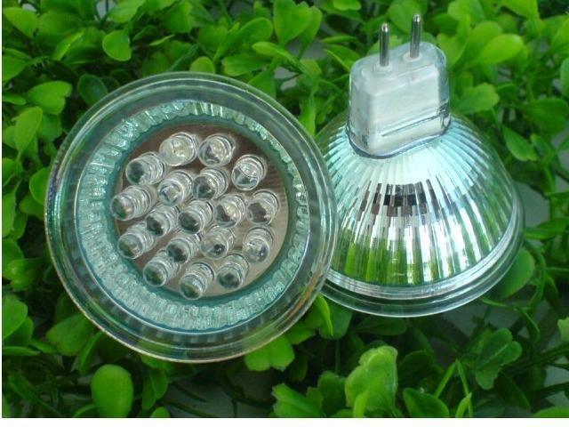 1W led spot light,MR16 base;DC12V input;Size:50*50mm;18pcs 5mm DIP LED; RGBcolor