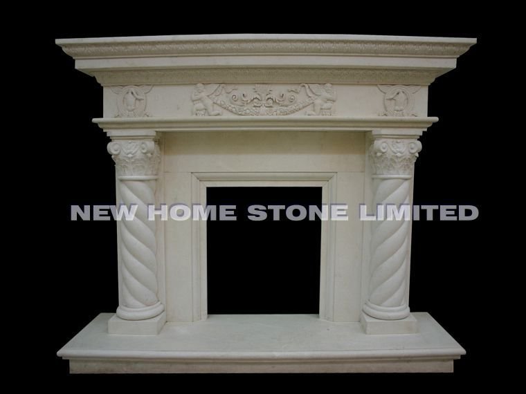 High polished hand carved fireplace mantel beige marble<br><br>Aliexpress