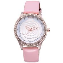 Top Brand! SKONE Brand uxury Women Fashion Genuine Leather Strap Watches With Rhinestone Women Quartz Waterproof Watches