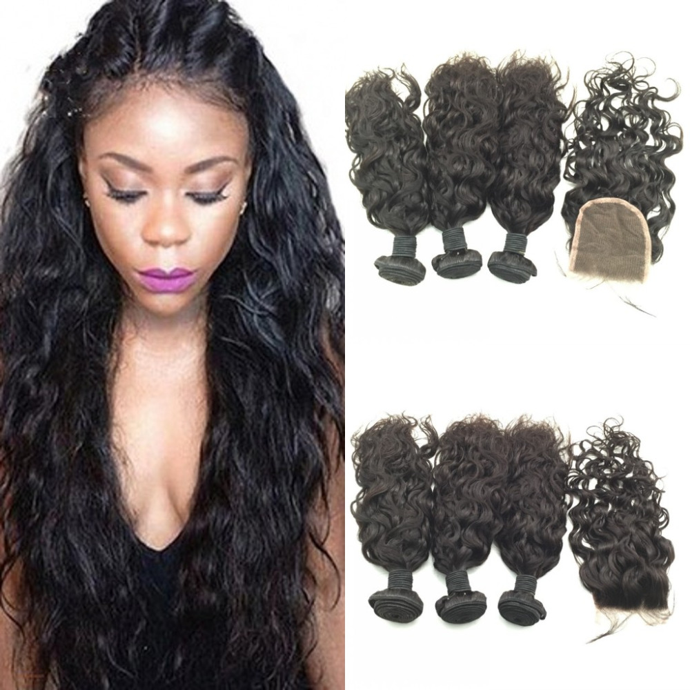 7A Peruvian Hair With Closure Water Wave Hair Cheap Hair Weave With Closure Peruvian Hair Bundles With Closure<br><br>Aliexpress