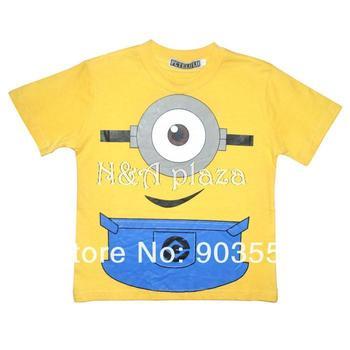 Cartoon Despicable Me One eye  Minions  Cotton Short Sleeve  Boy or girl T-Shirt Children Shirt  Free Shipping