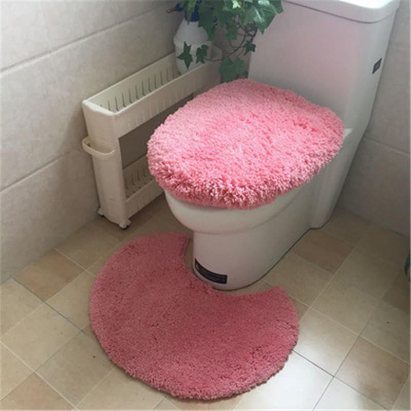3pcs/set Fashion Solid Color Floor Mat Microfiber toilet mat set toilet seat cover overcoat toilet case HD0100(China (Mainland))