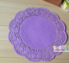 Free shipping,purple paper doilies,12inch,30cm purple round paper lace doilies/placemat,wedding party tableware decoration(China (Mainland))