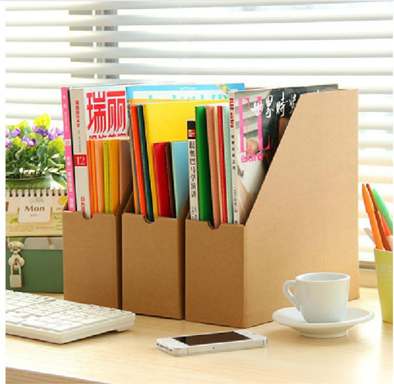 New 1PCS Creative Minimalist Office Kraft Paper Desktop Finishing Shelves Data File Storage Box Office Oragnizer Drawer 5ZCF015(China (Mainland))