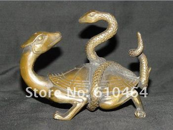 RARE old collectible style bronze statue tortoise snake decorate Free shipping