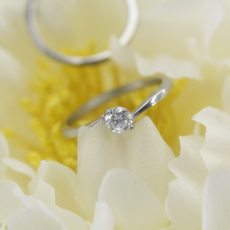 Free Shipping China Wholesale Simple Fashion Crystal Inlayed Stainless Steel Engagement Wedding Matching Promise ring for couple(China (Mainland))